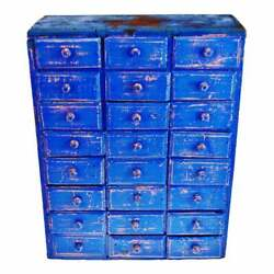 Antique Distressed Cobalt Blue 24-drawer Cigar Box Apothecary Cabinet