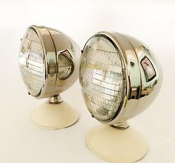 Stainless Steel Deitz Headlamps With Classic Curved Seal Beam Lenses-1pr- Dietz