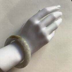 726 Antique Jadeite Japan Carved Dragon/pearl Bangle Jade Thick White Heavy