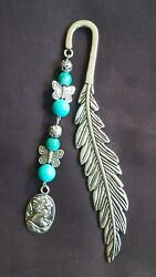 HANDMADE METAL FEATHER BOOKMARK WITH BEADS AND LADY CAMIO CHARM SEA GREEN GIFT