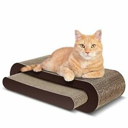 ScratchMe Cat Scratcher Cardboard Lounge Bed Cat Scratching Post with Catnip