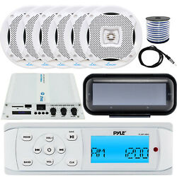 Pyle Plmr14bw Receiver W/ Cover, 6x 5.25'' Speakers W/ Wires, Amplifier, Antenna