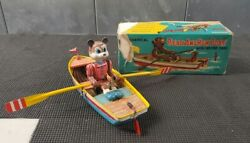 Vintage Wind Up Mechanical Bear And Row Boat W/ Moving Oars Complete In Boxandnbsp