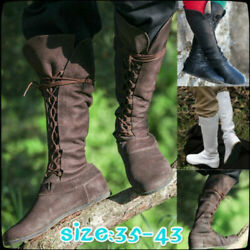 Womens Punk Lace Up Strappy Roman Boots Flat Combat Military Hiking Riding Boots