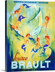 Source Brault, Vintage Poster, By Canvas Wall Art Print, Mermaid Home Decor