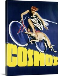 Cosmos Greyhound Bicycle, Vintage Poster Canvas Wall Art Print, Bicycling Home