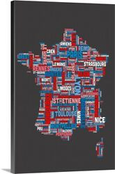 French Cities Text Map French Colors On Canvas Wall Art Print Map Home Decor