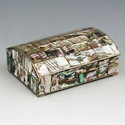Vintage Mexico Trinket Or Jewelry Box Silver With Abalone Shell