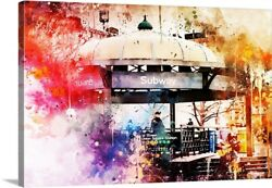 Nyc Watercolor Collection - Union Square Station Canvas Art Print