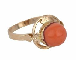 Ladies Antique Victorian 14k Rose Gold Cabochon Coral Gemstone Cocktail Ring