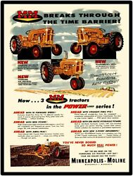 Minneapolis Moline Farm Equipment New Metal Sign Models 335/445 Tractor Featured