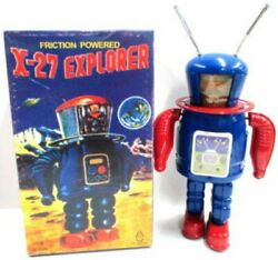 Tin Tom Toy X-27 Explorer Wind Up Friction Powered 22cm Tin Robot From Japan F/s