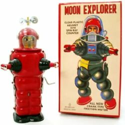 Tin Tim Toy Robot Moon Explorer Red Wind Up Toy Retro Collectibles From Japan