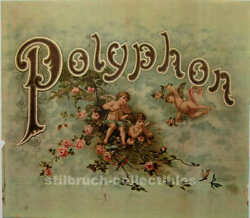 Polyphon Cover Lid Picture Large Image F. Antique Music Box Cherubs Angels Roses