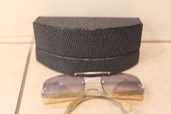 Luxuriator by Franco womens white and gold diamond sunglasses blue to gold