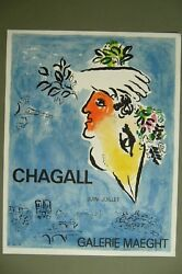 Marc Chagall Original Color Lithograph From 1964 Printed By Mourlot H33 19
