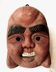 Old Chinese Wood Carving Happy Buddha - Red Wooden Mask