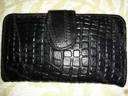 Black Stitched Yik Fung Bill Wallet designer new leather zip side mint A1 $42.00