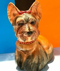 Yorkshire Terrier dog stone carving unique figurine Selenite Russia high quality