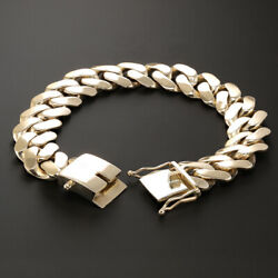 Hallmarked 9ct Gold Heavy Solid Cuban Bracelet -17mm- 90G - 8 inches (BC4_8_A)