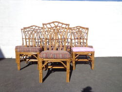 Rattan Chairs Pagoda Style Bohemian Boho Chic Chinese Chippendale Chair Set