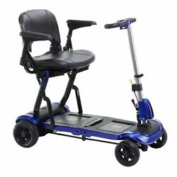 Drive Medical Flex Zoome Flex Ultra Compact Folding Travel 4 Wheel Scooter, Blue
