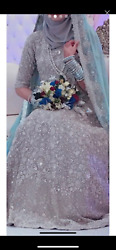 Silver Indian Dress With Zaroodi Work With Mint Colour Dupatta Size 8/10