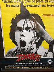 """Rare Vintage French """"dawn Of The Dead Zombie"""" Movie Poster Framed"""