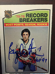 New York Islanders Bryan Trottier Signed Opc 1976 -77 Rookie Record Breaker Card
