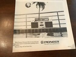 1982 Vintage 8x8 Smaller Print Ad For Pioneer Portable Personal Stereo Boombox