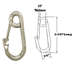 5pc 1/4 Gate Spring Snap Hook Lobster Claw Carabiner Ss Marine Clip Boat 250 Lb