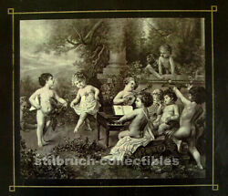 Polyphon Cover Lid Image Picture With Cherubs Angels For Antique Music Box