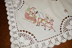 Santa And Reindeer Sleigh And Snowman Too German Christmas Tablecloth Crochet Insets