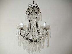 C 1920 French Rare Cut Crystal Prisms With Center Spear Chandelier