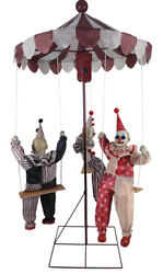 HALLOWEEN LIFESIZE ANIMATED CLOWN MERRY GO ROUND PROP DECORATION HAUNTED HOUSE