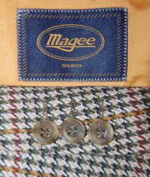 42 L Magee Tailored 100 % Tweed Multi Color Hounds Tooth Sport Jacket