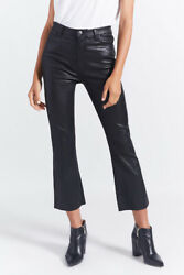 NWT $998 CurrentElliott Black The Kick cropped leather flared pants