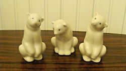 1983 Nao Lladro Hand Made In Spain 3 Small Adorable White Polar Bear Figurines