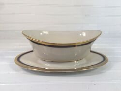 Lenox Blue Royale Gravy Boat With Attached Under Plate Discontinued Blue Gold