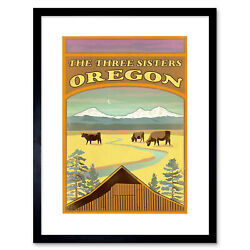 Travel Oregon Usa Three Sisters Mountain Cattle Cow Lodge Framed Print 12x16