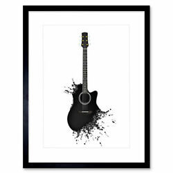 Painting Illustration Music Guitar Note Decay Cool Framed Print 12x16 Inch