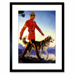 Painting Mounted Police Mountie Wolf Husky Canada Framed Print 9x7 Inch