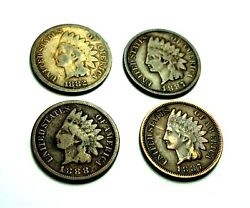 Lot Of 4 Indian Head Penny - 1882 1887 1898