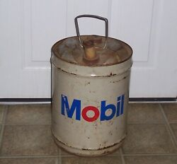 Vintage Mobil Oil Can 5 Gallon Flowrex Grease Gear Lubricant Similar Shell