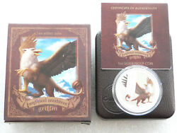 2013 Tuvalu Mythical Creatures Griffin 1 One Dollar Silver Proof Coin Box Coa
