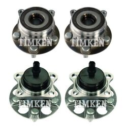 New Front And Rear Wheel Bearings And Hubs Kit Timken For Toyota Prius Plug-in Fwd