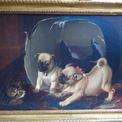 Original Horatio Henry Couldery Oil Painting Two Pug Pups and a Kitten