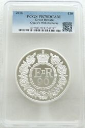 2016 Queens 90th Birthday Uk Andpound10 Ten Pound Silver Proof 5oz Coin Pcgs Pr70 Dcam
