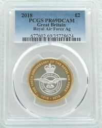 2018 Royal Mint Royal Air Force Andpound2 Two Pound Silver Proof Coin Pcgs Pr69 Dcam