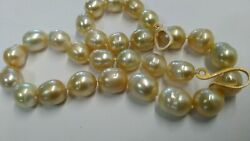 19.5-inch Aaa Golden Oval Round Pearls Necklace